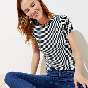 LOFT Tops - Green & White Striped Ribbed Button Detail Tee